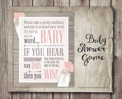 don u0027t say baby shower game sign shabby pink flowers