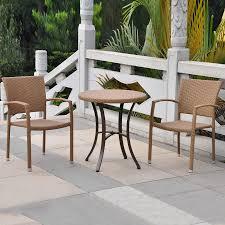 Wicker Patio Dining Chairs by Shop International Caravan Barcelona 3 Piece Honey Wicker Bistro