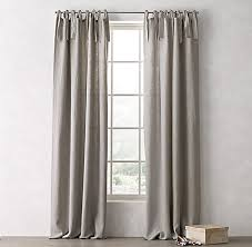 Tie Top Curtains Frayed Tie Top Linen Drapery Collection Rh