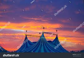 circus tent dramatic sunset sky colorful stock photo 120394159
