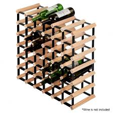 wooden and metal wine rack pine timber 42 bottle cellar storage