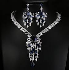 zirconia necklace set images Luxury cubic zirconia 2 piece pendant bridal jewellery set jpg