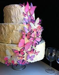 edible wedding cake decorations edible butterflies assorted set of 30 pink cake