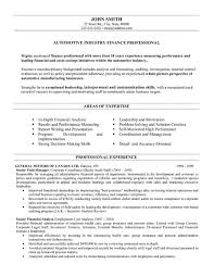 Example Finance Resume by Thesis Proposal Automotive