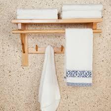 Hanging Bathroom Shelves 50cm Wood Hanging Bathroom Towel Shelves