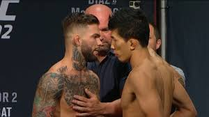 ufc 202 official weigh in cody garbrandt vs takeya mizugaki