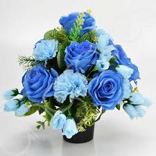 blue carnations artificial flowers for cemetery vases chuck nicklin