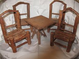 antique 5 piece rustic adirondack miniature twig set 4 chairs and