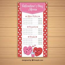 cute valentine menu template vector free download