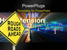powerpoint template road sign reads rough roads ahead with safety