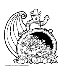 thanksgiving coloring pages cornucopia farmer coloring