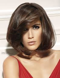 brown bob hairstyle with volume and a diagonal fringe