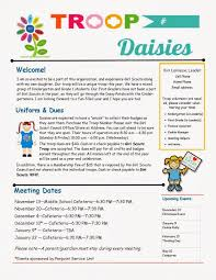 pta meeting invitation daisy troop parent newsletter template scouts daisies