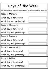 days of the week worksheets printable worksheets pinterest
