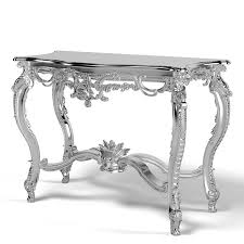 Silver Console Table Baroque Console Platinum Classic Carved Carving Classical Desk