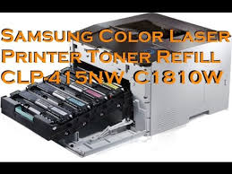 samsung color laser printer toner refill clp 415nw c1810w youtube