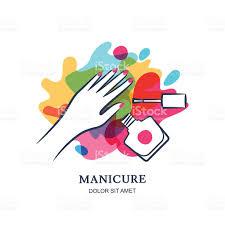 female hand on nail polish splash background vector label design