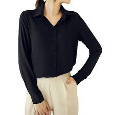 black button blouse cekaso s button up shirts solid collared sheer sleeve