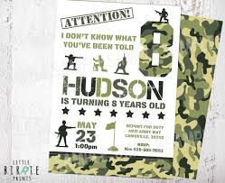camo invitation camouflage birthday party invitation