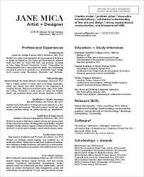 sample art resume 9 examples in word pdf