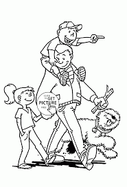 kids with best father coloring page for kids father u0027s day