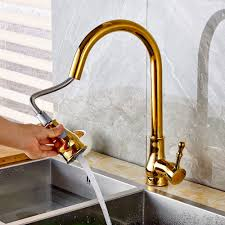 new fashion deck mount golden brass pull out vessel sink mixer tap
