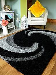 Black And Silver Rug Grey Black Silver New Modern Thick Shaggy Rugs Large Small Runners