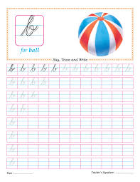 cursive small letter b practice worksheet handwriting