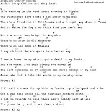 country music acapulco johnny duncan lyrics and chords