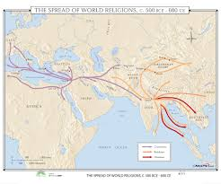 World Religion Map 111 The Spread Of World Religions 500 Bce 600 Ce U2013 Kappa Map Group