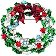red bow christmas wreath crystal pin brooch fantasyard costume