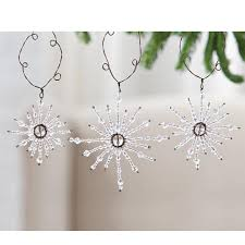 jeweled snowflake ornaments set of 3 home decorating