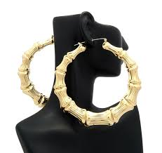 90s hoop earrings classic bamboo door knocker hoop earrings in gold tone
