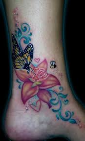 style 3d multicolored butterfly with big flower on
