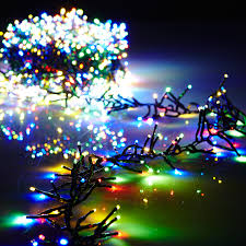 raz 10 multi color cluster garland lights with green wire and