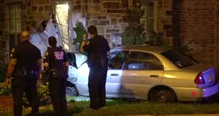 car crashes into home in old east dallas after plowing over trees