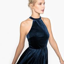 halter neck halter neck velour dress with pleats midnight blue la redoute