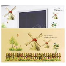 diy cartoon windmill wall decal wallpaper removable country style