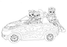 free printable monster high coloring pages scaris car with