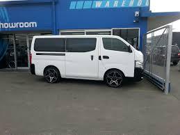 nissan caravan side view bgw tuff gloss black w machined face bg world wheels