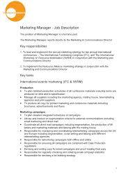 Telemarketing Resume Job Description by Assistant Marketing Manager Job Description Job Description