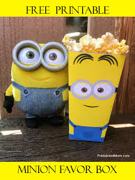 free minion printable popcorn favor box printables 4 mom