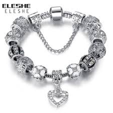 diy silver bracelet images Eleshe fashion silver heart charms bracelet bangle for women diy jpg