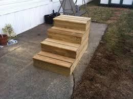 unique wooden portable steps for your travel trailer
