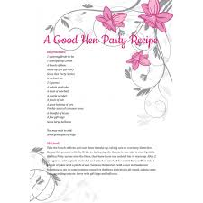 hen party poem a good hen party recipe hen party superstore