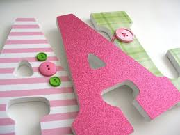 Decorating Wooden Letters For Nursery 3 Decorated Wooden Letters 9 Letters Custom Colors Nursery