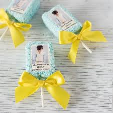 religious party favors personalized photo party rice krispy treats
