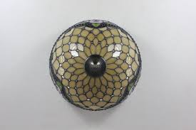 Flush Mounted Lights Ceiling Lighting Stained Glass Tiffany Style Flush Mount Parrotuncle