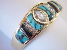 turquoise and wedding ring turquoise black jade and diamonds set in 18 karat gold ring