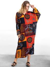 sale zanzea casual women totem print long sleeve loose maxi